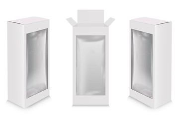 Mockup of blank cardboard box with transparent window.Product package mock-up.