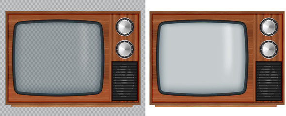 Old wooden television.Vector retro television mock up with transparent glass screen isolate on white and transparent background.