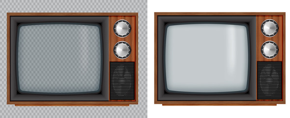 Old wooden television.Vector retro television mock up with transparent glass screen isolate on white and transparent background. Fototapete