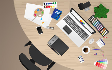 Workplace of office worker, designer