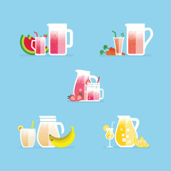 Fresh drink with big glass, ice and fruit for each drink