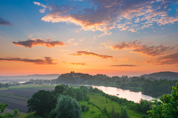 Beautiful colorful sunrise landscape, Tyniec near Krakow, Poland