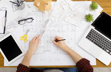 Architect's working table, top view.