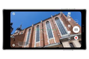 Smartphone camera application photography realistic illustration isolated on white background