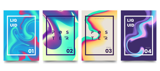 Modern marble ink poster collection. Abstract liquid shape. Trendy brochure template . Color gradient splashes. Design element for card, banner, poster, identity, web design. Vector eps 10.