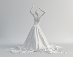 sculpture girl in a long white dress