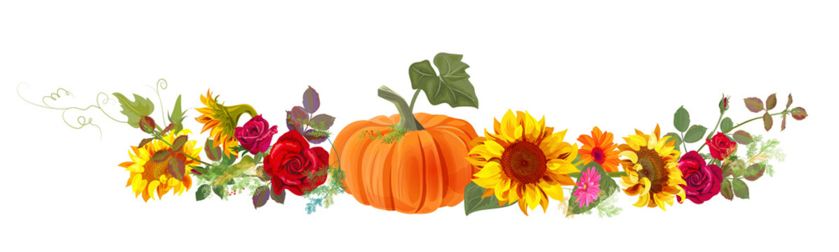 Horizontal autumn's border: orange pumpkin, sunflowers, red roses, gerbera daisy flowers, small green twigs on white background. Digital draw, illustration in watercolor style, panoramic view, vector