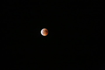 Eclipse of the moon, total lunar eclipse and red moon July 27, 2018.