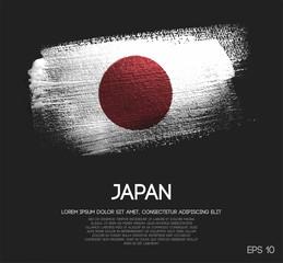 Japan Flag Made of Glitter Sparkle Brush Paint Vector