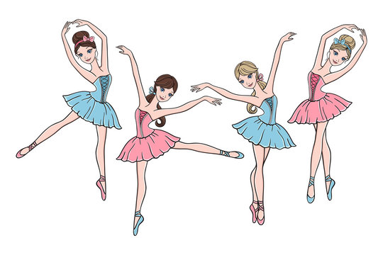 Set of cute ballerinas in pink and blue tutu dresses