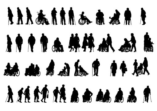 Silhouettes people in wheelchair on white background