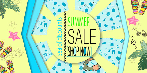 Summer sale banner design with tropical beach top view background