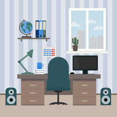 The interior room of a teenager. Workplace of the student. Desktop with computer, shelves with books and globe. Concept of education and home office. Flat vector illustration.