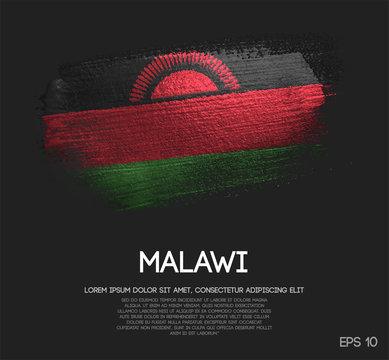 Malawi Flag Made of Glitter Sparkle Brush Paint Vector