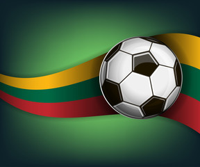 Illustration with soccet ball and flag of Lithuania