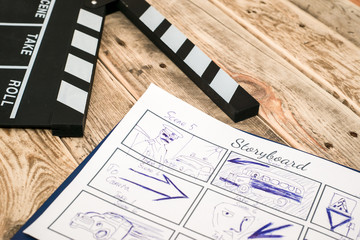 clapperboard, storyboard on wood