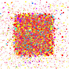 Square background. Multicolored confetti on white. Pattern for design with glitters. Print for polygraphy, posters, banners and textiles