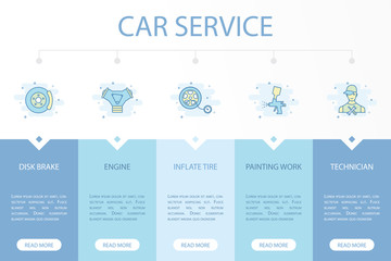 Car service web banner infographic concept template with simple line icons. Contains such icons as disk brake, engine, inflate tire