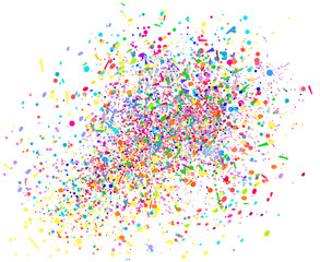 Multicolored confetti on white. Pattern for design. Background with glitters. Print for polygraphy, posters, banners and textiles. Greeting cards. Explosion. Firework