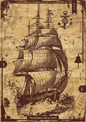 Fotorolgordijn Schip Vintage Nautical Elements Poster