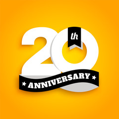 Twenty years anniversary logo with black ribbon, 20th years celebration isolated on yellow background. Vector.