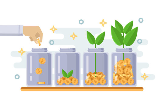 Investment and finance growth business concept. Hand putting coin in clear bottle. Vector flat isolated illustration.