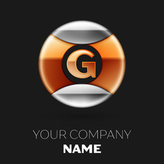 Realistic Golden Letter G logo symbol in the silver-golden colorful circle shape on black background. Vector template for your design