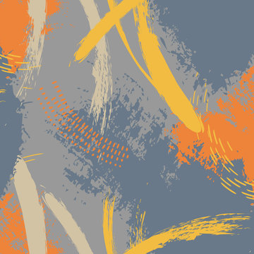 Vector grunge abstract expressive pattern. Brush stroke minimalistic print in grey blue colors. Pastel fresh dynamic background