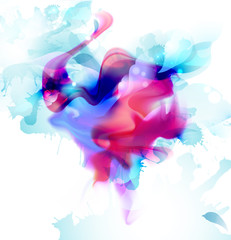 Fototapete - Magenta and blue colorful fantasy blot spread to the light background. Abstract vector composition for the bright design.