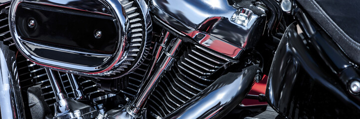 new, shiny, chrome motorbike engine