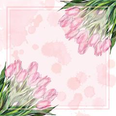 Watercolor pink tulip flower bouquet composition nature spot frame border sample template background