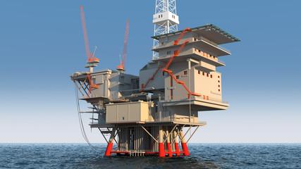 oil platform in ocean Wall mural