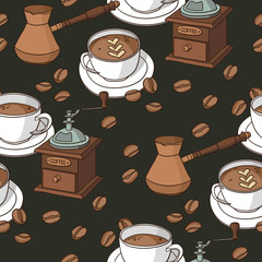 Vector seamless pattern with coffee cups, coffee grinder, coffee fryer, coffee beans.