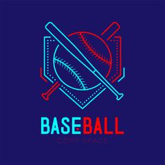 Baseball with bat and home plate logo icon outline stroke set dash line design illustration isolated on dark blue background with baseball text and copy space