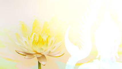 Image of Golden Buddha and Pink Lotus, Double Exposure