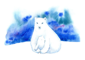 Polar bear, bear cub and northern lights. Winter landscape with animals and sky.Family. Watercolor hand drawn illustration.