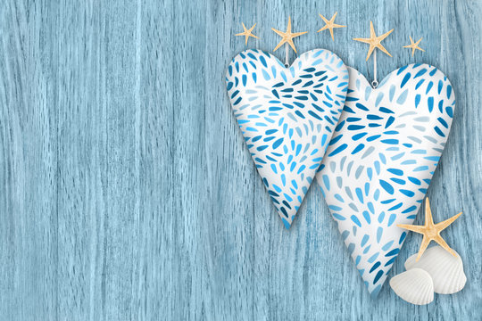Beach decoration  -  two hearts  -  background