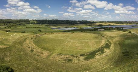 Aerial view of historical Viking ring castle Fyrkat