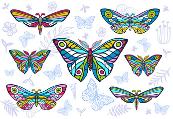 Collection of colorful butterflies on a floral background, vector set of insects, vintage style, wings, flowers, leaves.