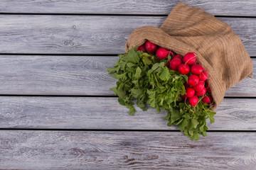 Fresh organic radish on a old wooden background. Free space for text. Copy space.