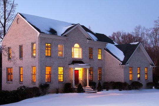 Brick House at Dusk with Snow