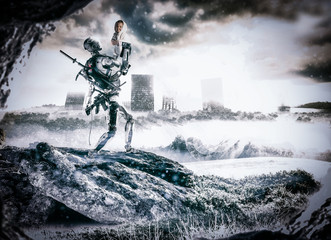 Illustration of a robot soldier saving a baby from war inside a futuristic and apocalyptic scene