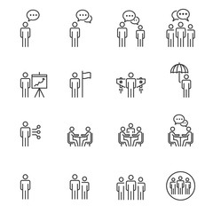 People Icons Line Work Group Team, Persons Crowd Symbol Perfect Design Simple Set For Using In Web site Infographics Report, Outline Vector Illustration