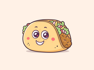 Taco cartoon character mascot with happy face
