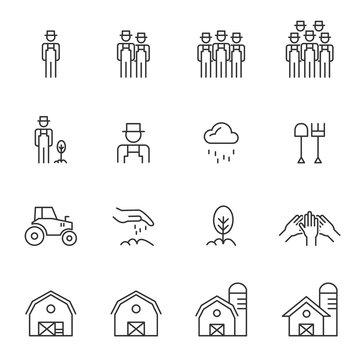 Barn Line Icons Set Vector Illustration , Farmer And Village Farm