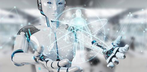 White woman robot scanning human body 3D rendering