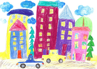Children drawing of the Family travel, trip by car and bus