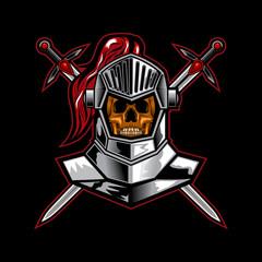 knight skull cross sword vector illustration art