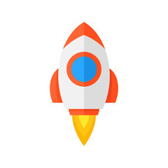 Rocket ship icon. flat style. isolated on white background