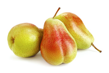 Wall Mural - heap of ripe pear fruits isolated on white background